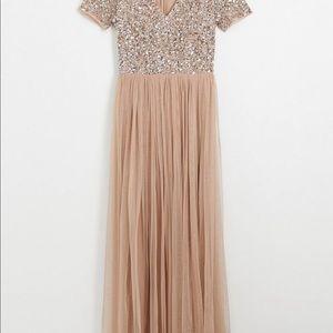 ASOS Maya V Neck Maxi Tulle Dress - Taupe blush
